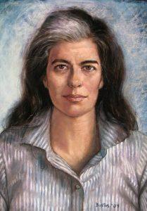 Pastel portrait of Susan Sontag by Juan Fernando Bastos