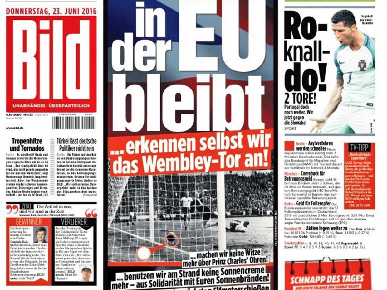 Bild EU referendum front page